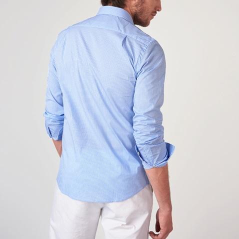 d66e75230ba4 Ανδρικό μακρυμάνικο καρό πουκάμισο FUNKY BUDDHA γαλάζιο (1742919.0 ...