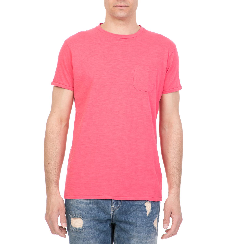 FUNKY BUDDHA - Ανδρική κοντομάνικη μπλούζα FUNKY BUDDHA ροζ ανδρικά ρούχα μπλούζες κοντομάνικες