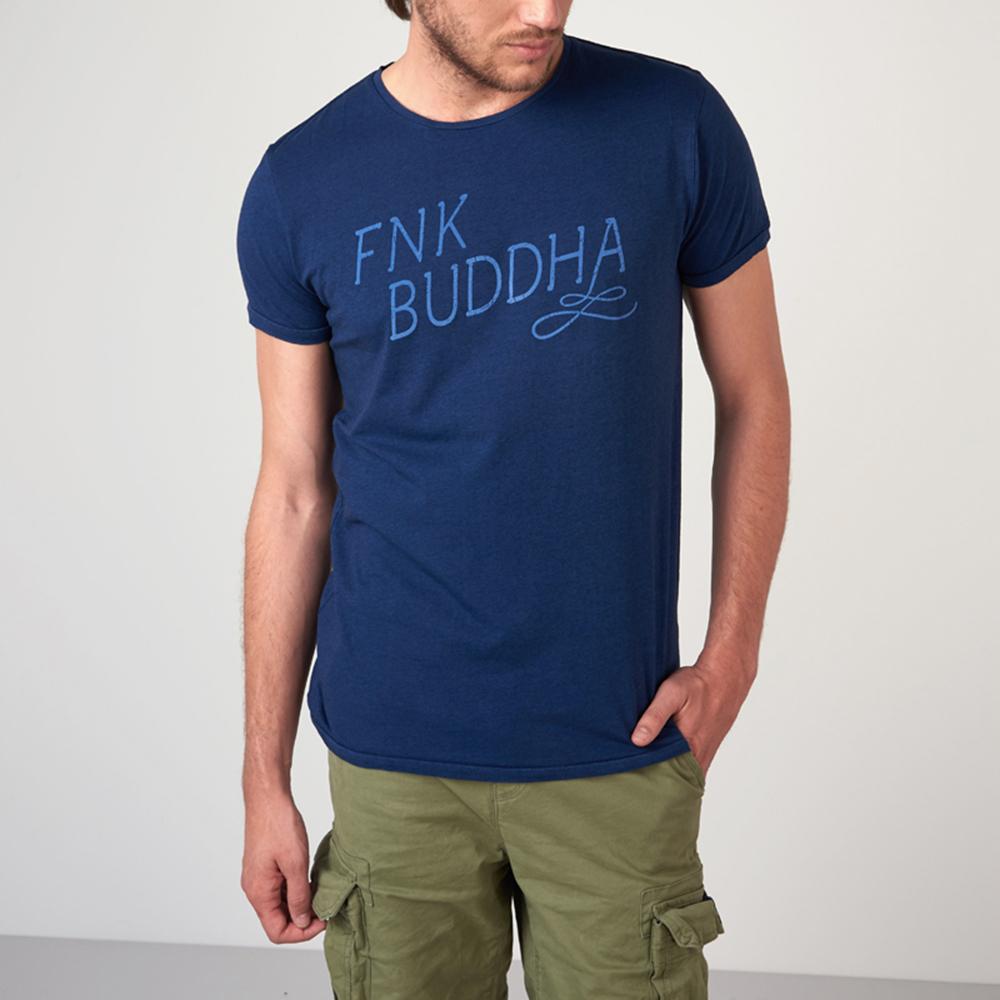 FUNKY BUDDHA - Ανδρική κοντομάνικη μπλούζα FUNKY BUDDHA μπλε ανδρικά ρούχα μπλούζες κοντομάνικες