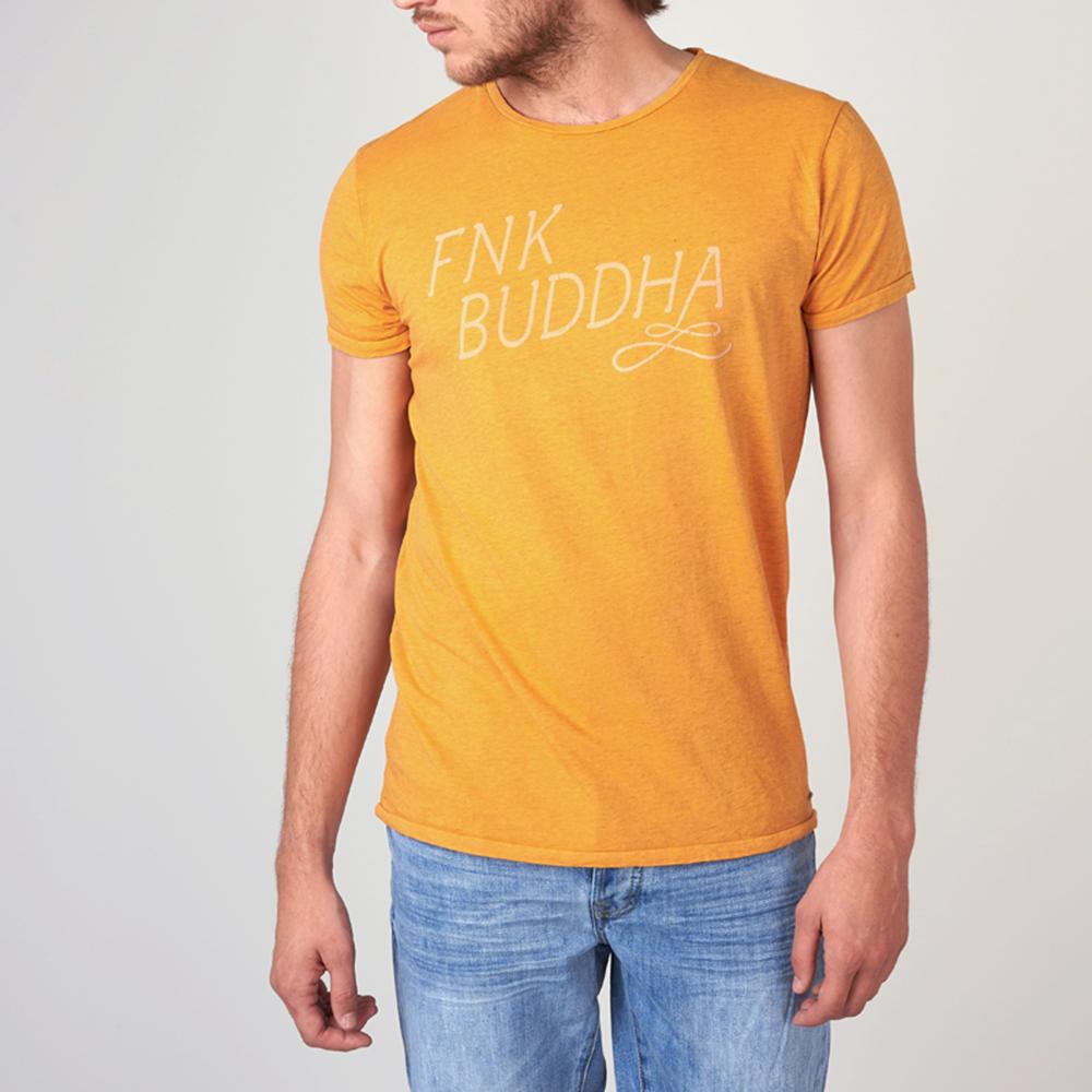 FUNKY BUDDHA - Ανδρική κοντομάνικη μπλούζα FUNKY BUDDHA κίτρινη ανδρικά ρούχα μπλούζες κοντομάνικες