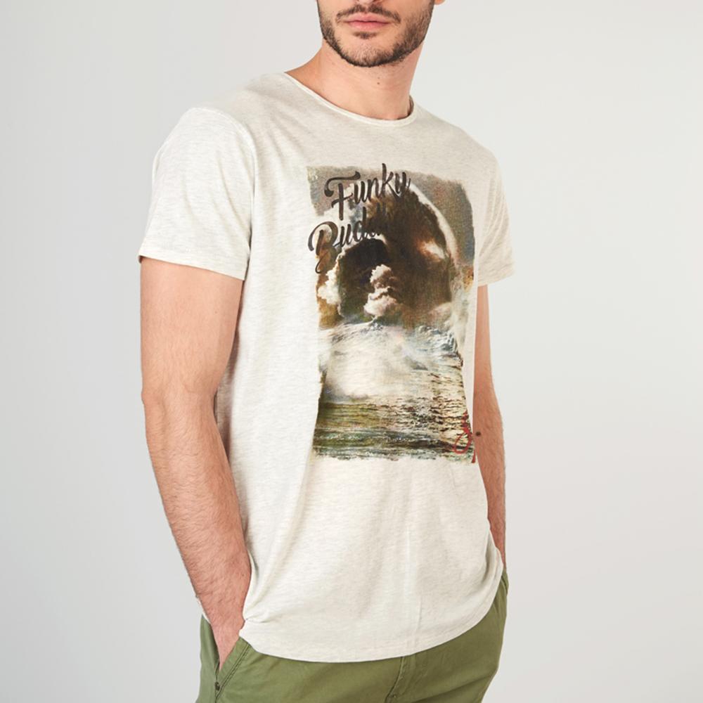 1580fb2164fd FUNKY BUDDHA - Ανδρική κοντομάνικη μπλούζα FUNKY BUDDHA γκρι
