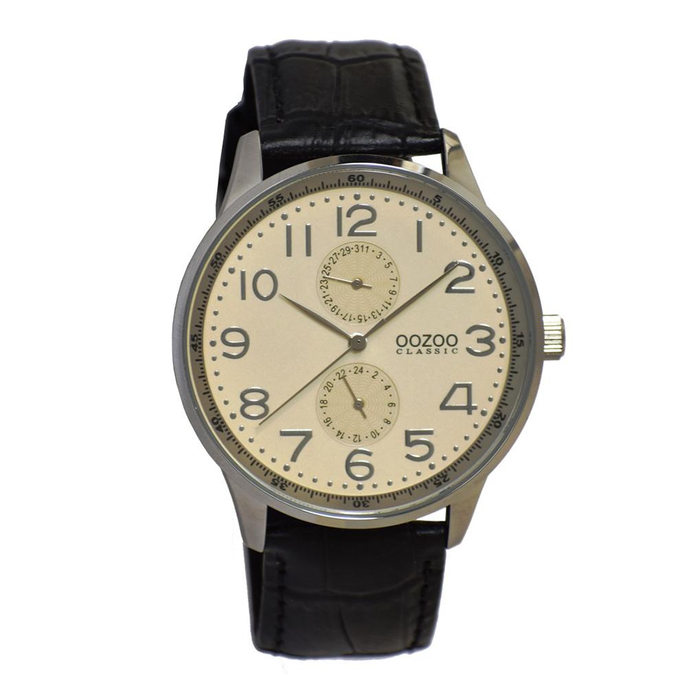 OOZOO - Ανδρικό δερμάτινο ρολόι OOZOO CLASSIC μαύρο