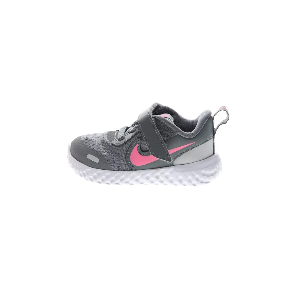 NIKE – Βρεφικά αθλητικά παπούτσια NIKE REVOLUTION 5 (TDV) γκρι ροζ