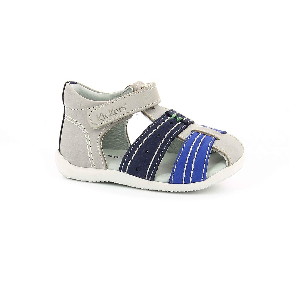 KICKERS - Βρεφικά πέδιλα BIGBAZAR KICKERS γκρι-μπλε παιδικά baby παπούτσια πέδιλα σανδάλια
