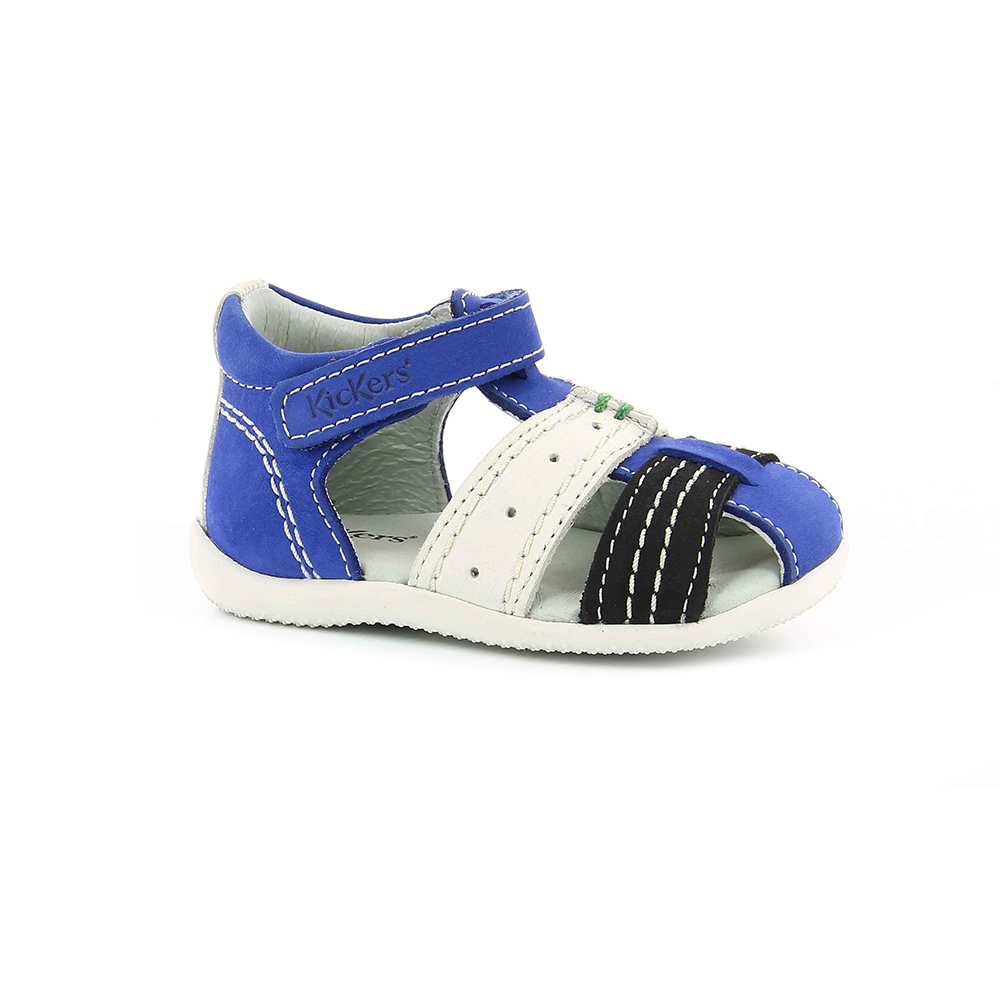 KICKERS - Βρεφικά πέδιλα BIGBAZAR KICKERS λευκά-μπλε παιδικά baby παπούτσια πέδιλα σανδάλια