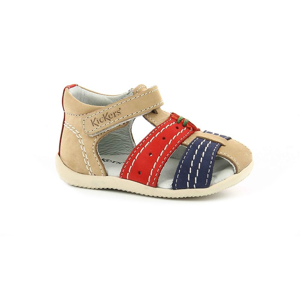 KICKERS - Βρεφικά πέδιλα BIGBAZAR KICKERS μπεζ-μπλε παιδικά baby παπούτσια πέδιλα σανδάλια