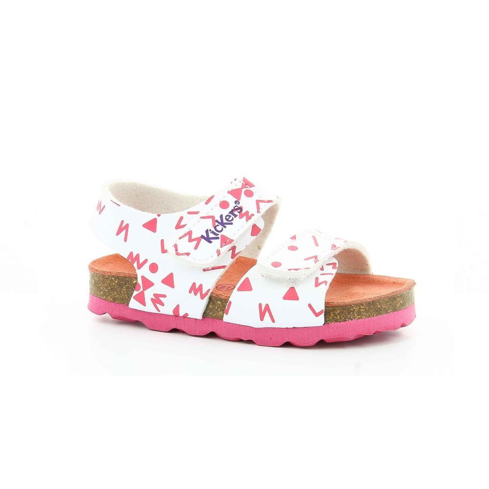 KICKERS - Κοριτσίστικα πέδιλα SUMMERKRO KICKERS λευκά-ροζ παιδικά girls παπούτσια πέδιλα σανδάλια