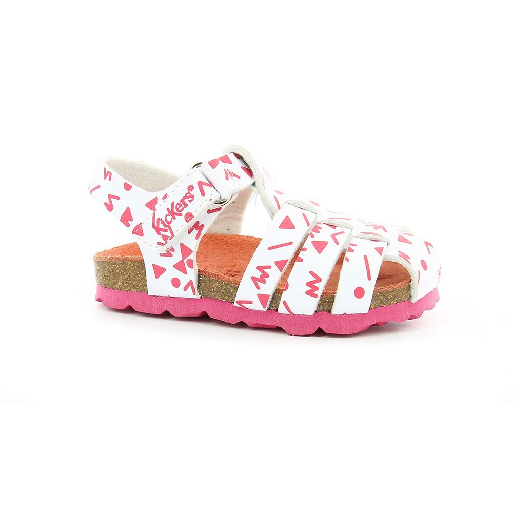 KICKERS - Βρεφικά πέδιλα SUMMERTAN KICKERS λευκά-ροζ παιδικά baby παπούτσια πέδιλα σανδάλια