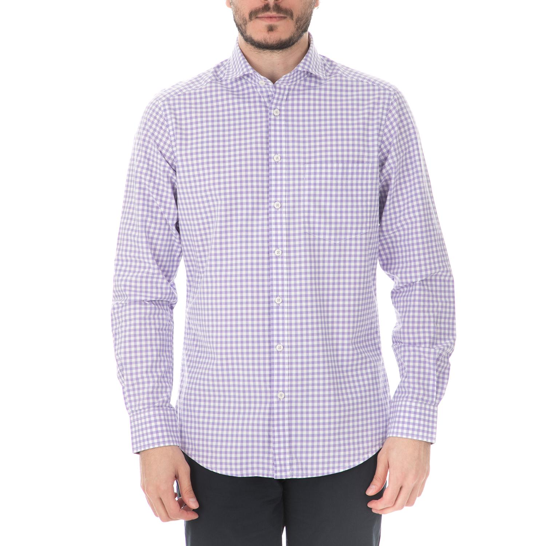 5f2463fe336f HAMPTONS - Ανδρικό μακρυμάνικο πουκάμισο HAMPTONS CLASSIC CHECK μοβ