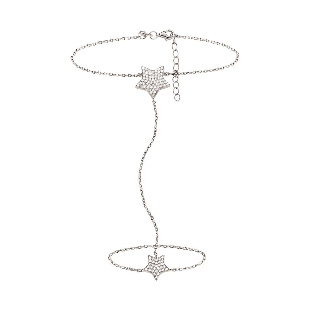 FOLLI FOLLIE - Γυναικείο διπλό βραχιόλι με δαχτυλίδι FOLLI FOLLIE ασημί γυναικεία αξεσουάρ κοσμήματα βραχιόλια