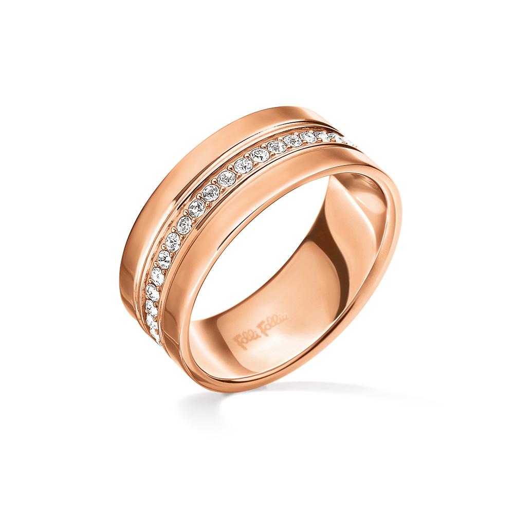 FOLLI FOLLIE - Γυναικείο φαρδύ δαχτυλίδι FOLLI FOLLIE TOUCH ροζ-χρυσό γυναικεία αξεσουάρ κοσμήματα δαχτυλίδια