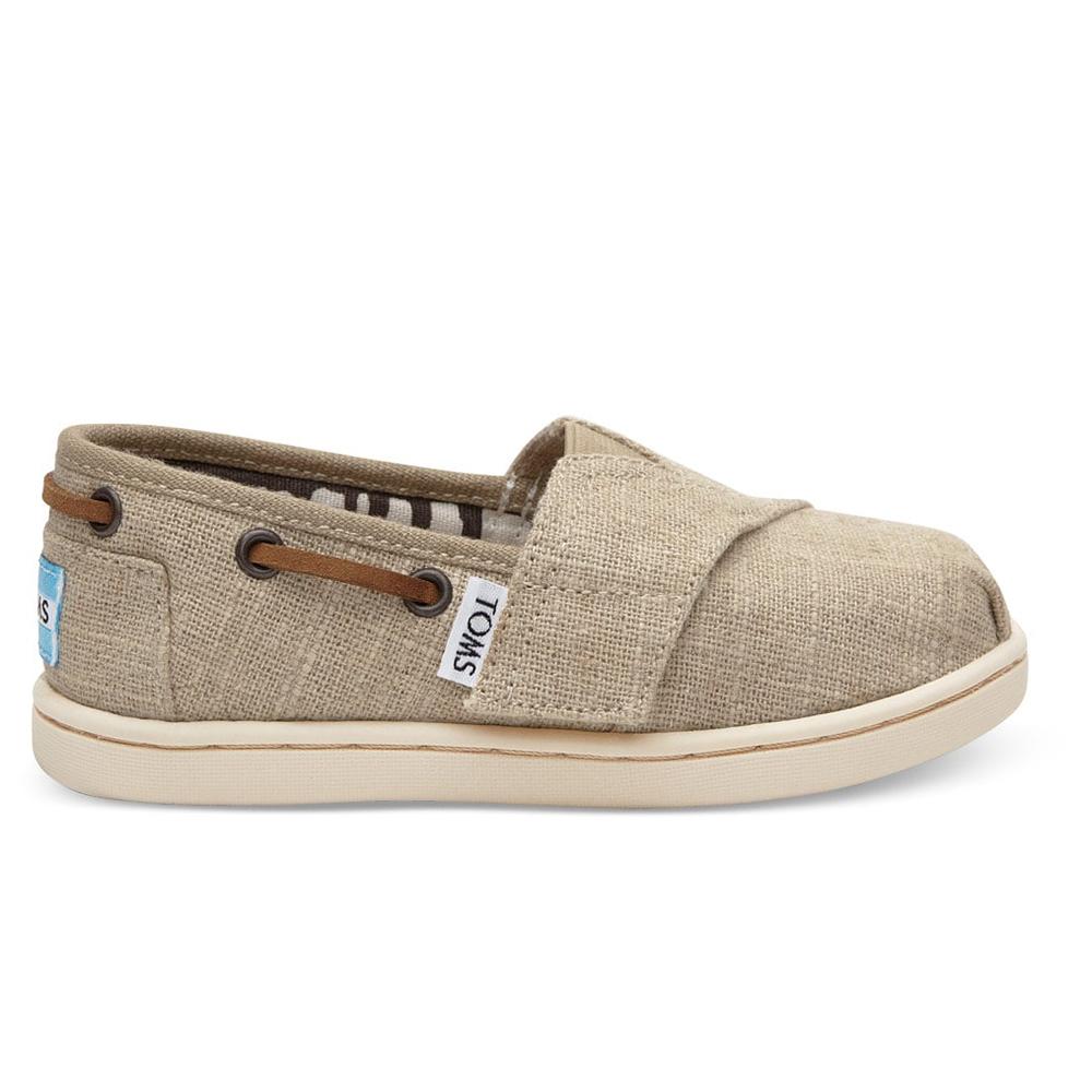 TOMS - Βρεφικά slip-ons TOMS NATURAL BURLAP μπεζ παιδικά baby παπούτσια εσπαντρίγιες slip on