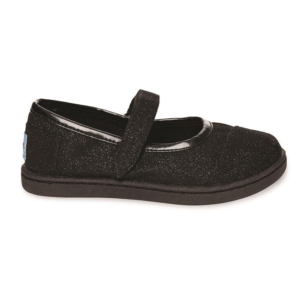 TOMS - Βρεφικές μπαλαρίνες TOMS MARY JANE GLIMMER μαύρες παιδικά baby παπούτσια casual