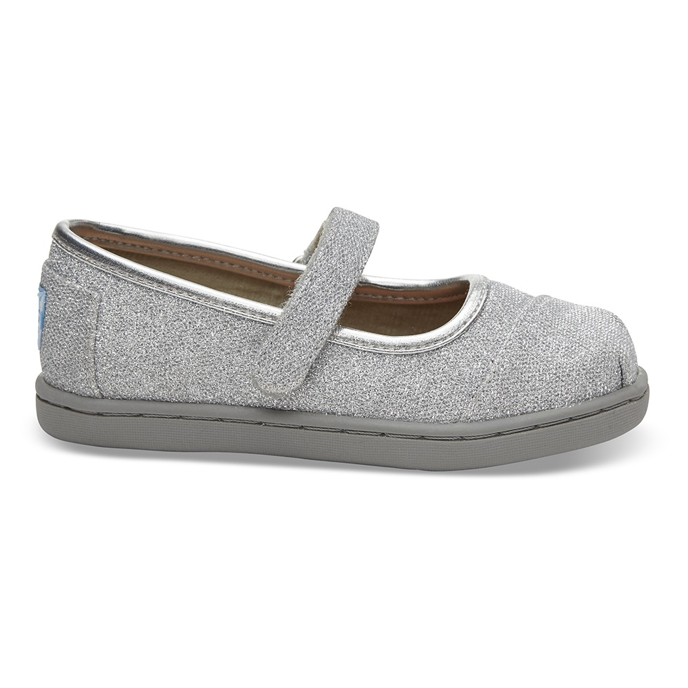 TOMS - Βρεφικές μπαλαρίνες TOMS SILVER GLIMMER ασημί παιδικά baby παπούτσια casual