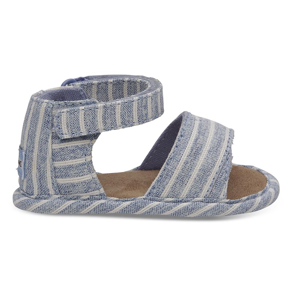 TOMS - Βρεφικά σανδάλια TOMS SKY WASHED STRIPE γαλάζια παιδικά baby παπούτσια πέδιλα σανδάλια