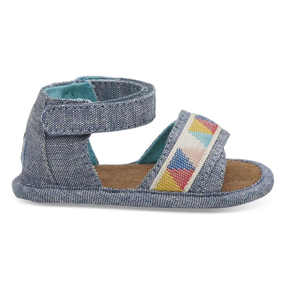TOMS - Βρεφικά σανδάλια TOMS BLUE SLUB CHAMBRAY μπλε παιδικά baby παπούτσια πέδιλα σανδάλια