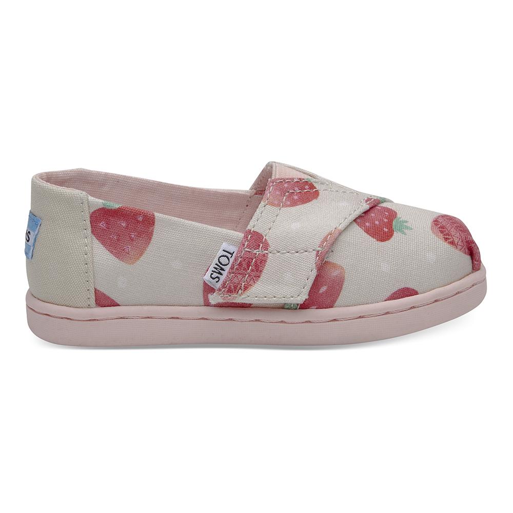 TOMS - Βρεφικά slip-ons TOMS BIRCH STRAWBERRIES μπεζ παιδικά baby παπούτσια εσπαντρίγιες slip on