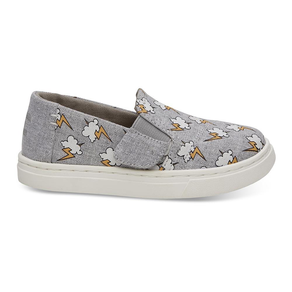 TOMS - Βρεφικά slip-ons TOMS GREY LIGHTNING γκρι παιδικά baby παπούτσια εσπαντρίγιες slip on
