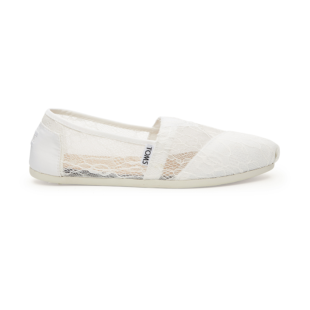 TOMS – Γυναικεία slip-ons με δαντέλα TOMS λευκά