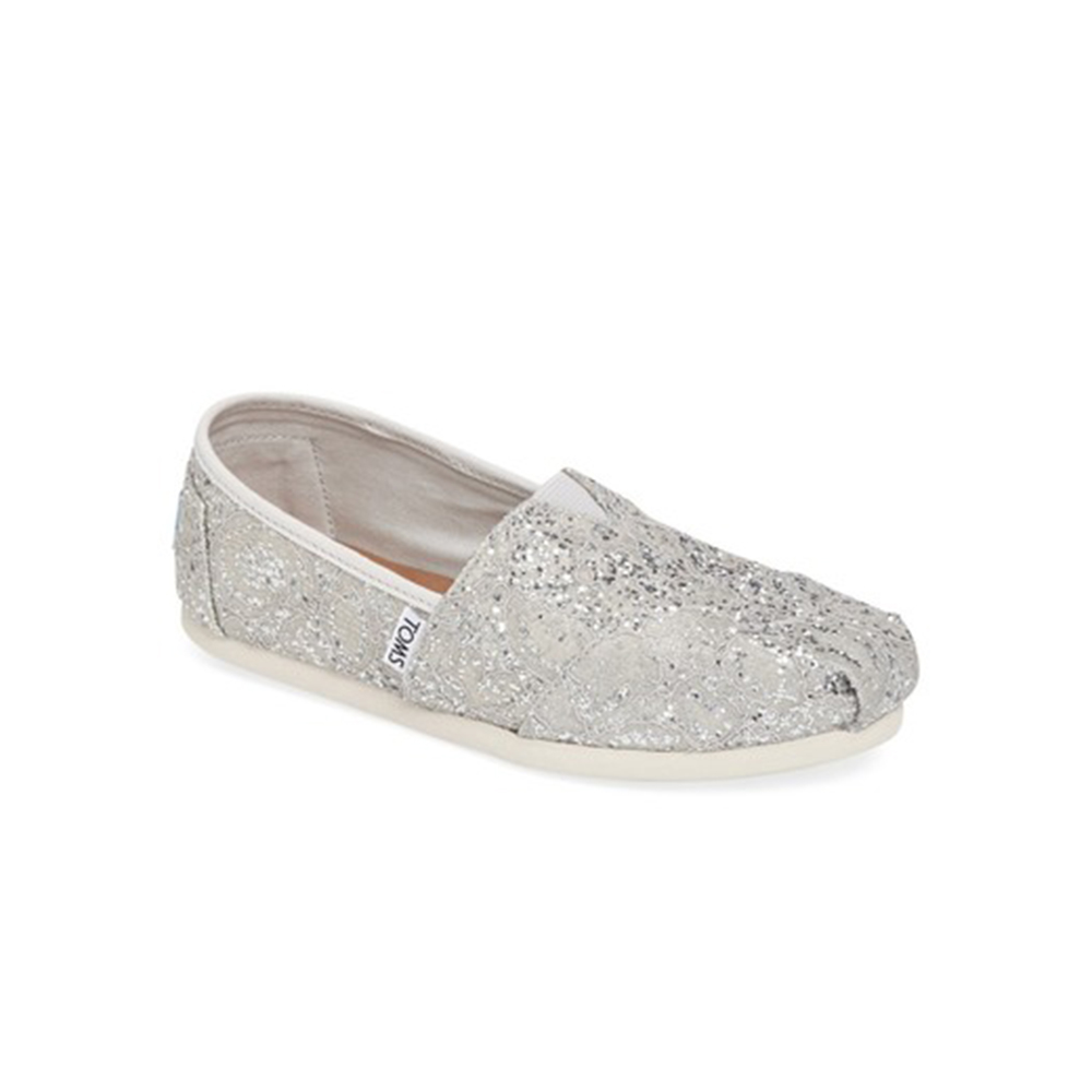 3f92edba25f -40% Factory Outlet TOMS – Γυναικεία slip-ons με glitter TOMS ασημί