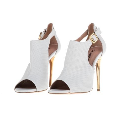 9f875d6a3715 Γυναικεία peep toe ψηλοτάκουνα πέδιλα CHANIOTAKIS COLANDER λευκά ...