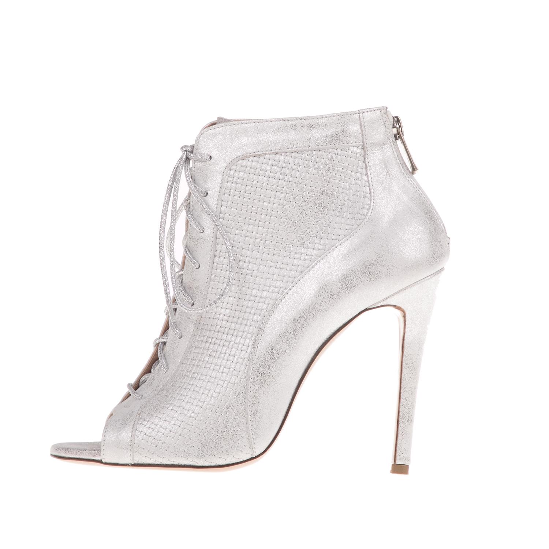 42295684533 CHANIOTAKIS – Γυναικεία ψηλουτάκουνα peep toe μποτάκια SANDAL MARLEY-PLAIT  ασημί