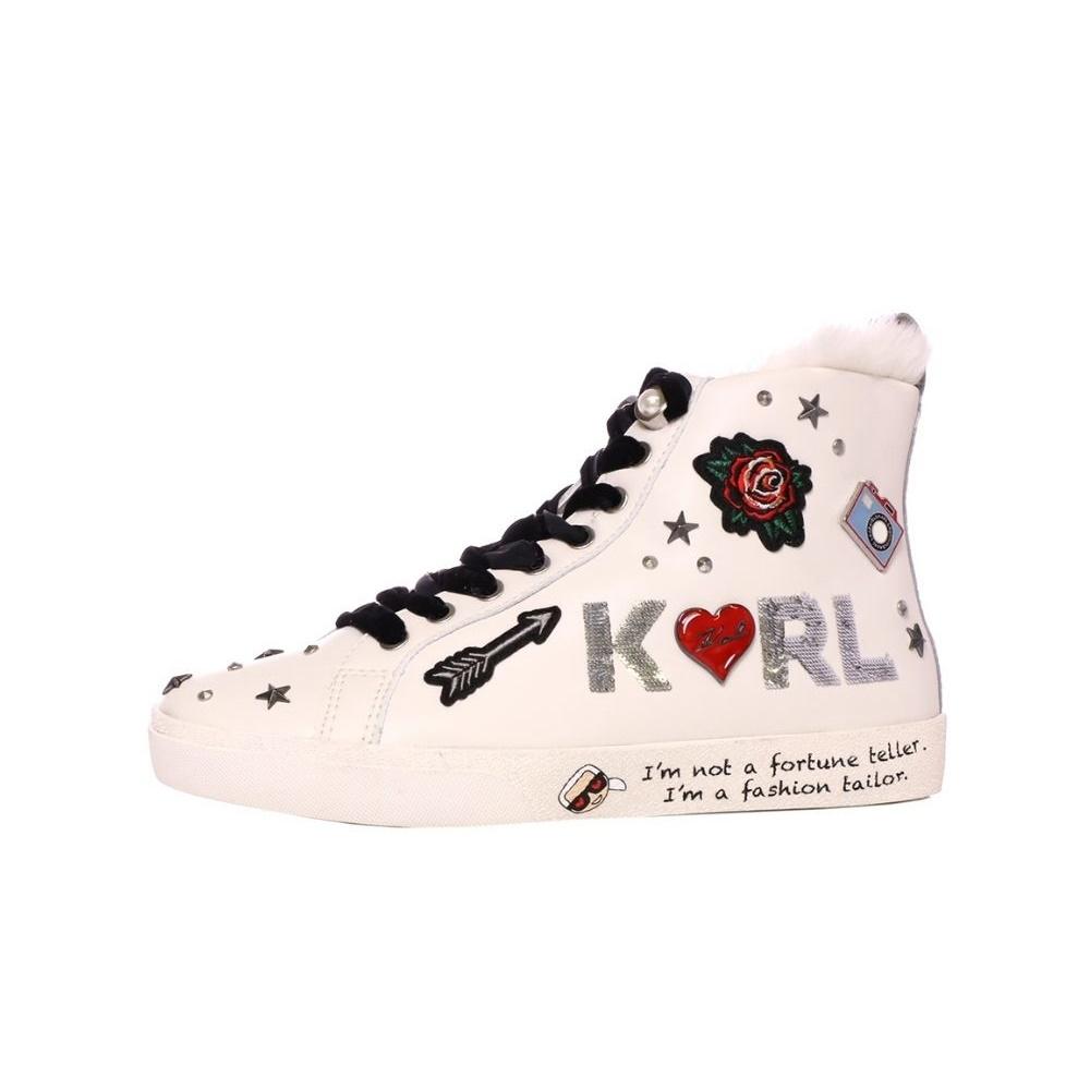 KARL LAGERFELD – Γυναικεία ψηλά sneakers KARL LAGERFELD Jewel Badge λευκά
