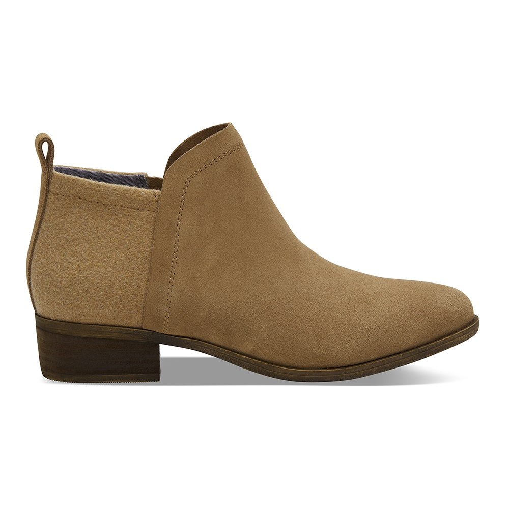 TOMS – Γυναικεία μποτάκια TOMS TOFFEE SUEDE/WOOL DEIA καφέ