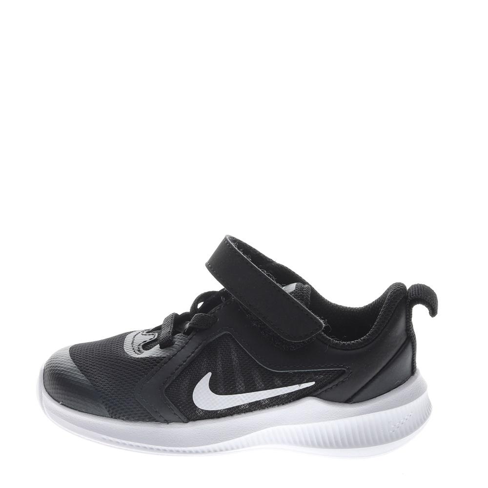 NIKE – Βρεφικά αθλητικά παπούτσια NIKE DOWNSHIFTER 10 (TDV) μαύρα λευκά