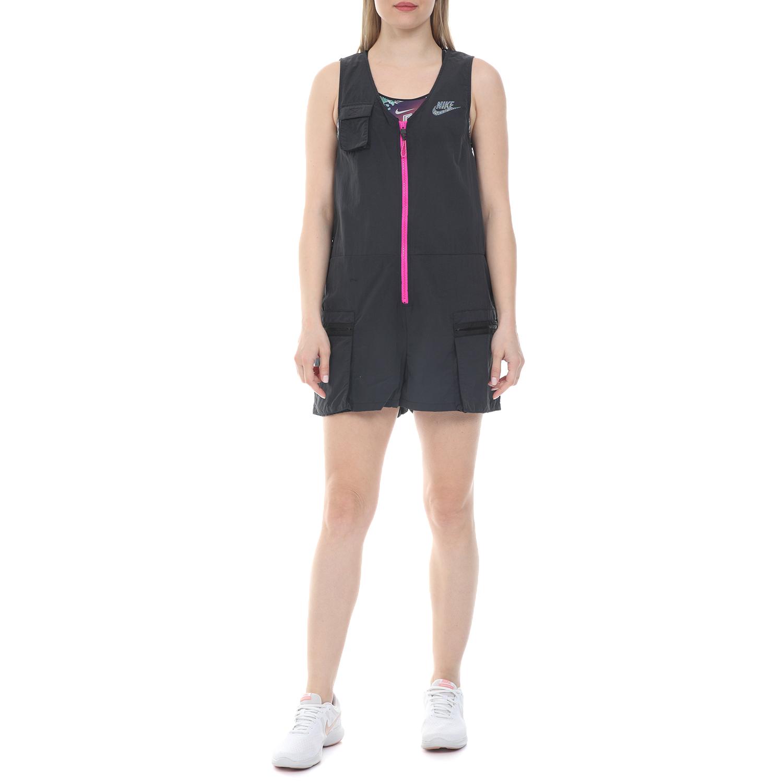 NIKE - Γυναικεία ολόσωμη φόρμα σορτς NIKE NSW ICN CLSH ROMPER μαύρη ροζ