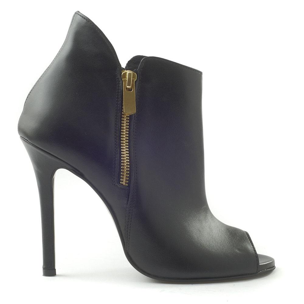 CHANIOTAKIS – Γυναικεία peep-toe μποτάκια CHANIOTAKIS μαύρα