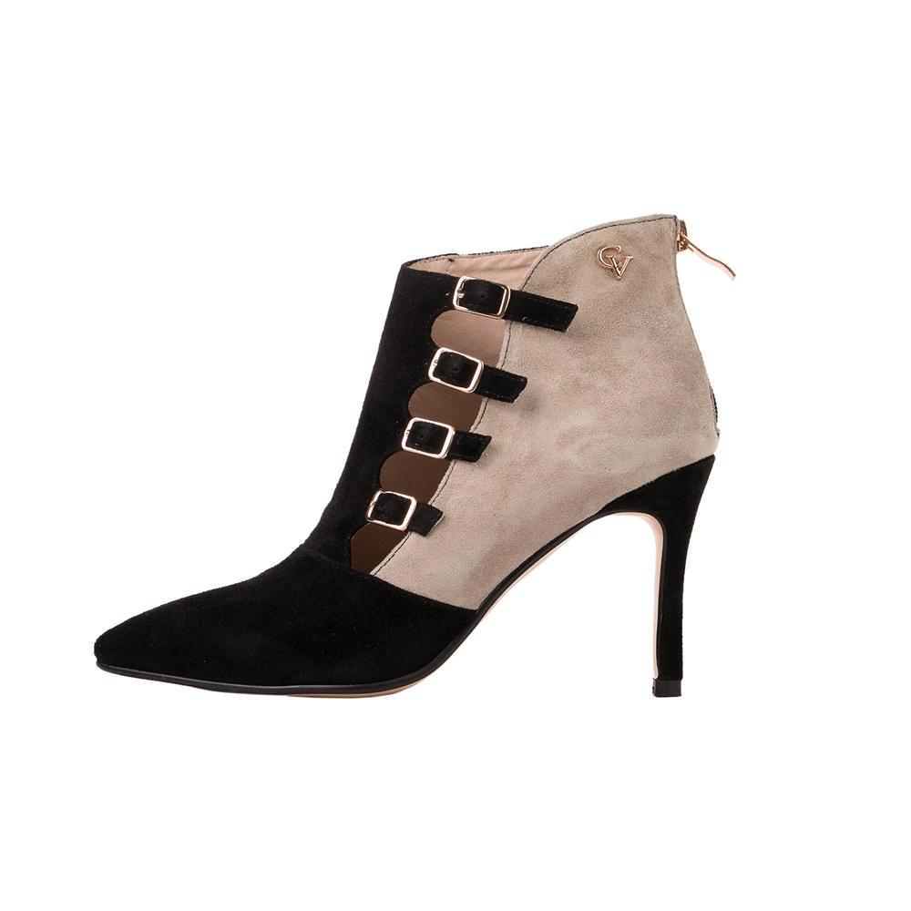 CHEVALIER – Γυναικεία μποτάκια CHEVALIER HIGH HEEL ANKLE BOOTS μαύρα μπεζ