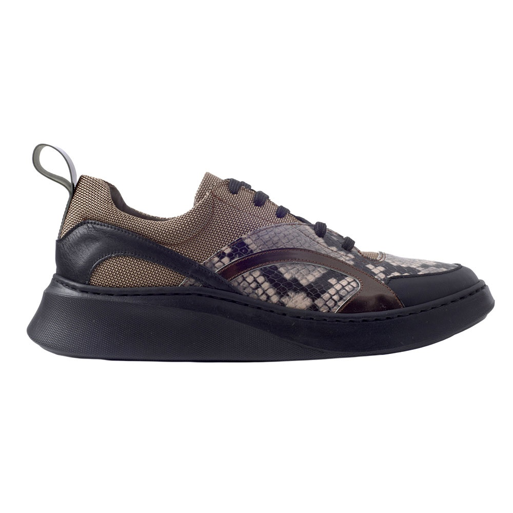 CHANIOTAKIS – Ανδρικά δερμάτινα sneakers CHANIOTAKIS PITONE μπεζ καφέ