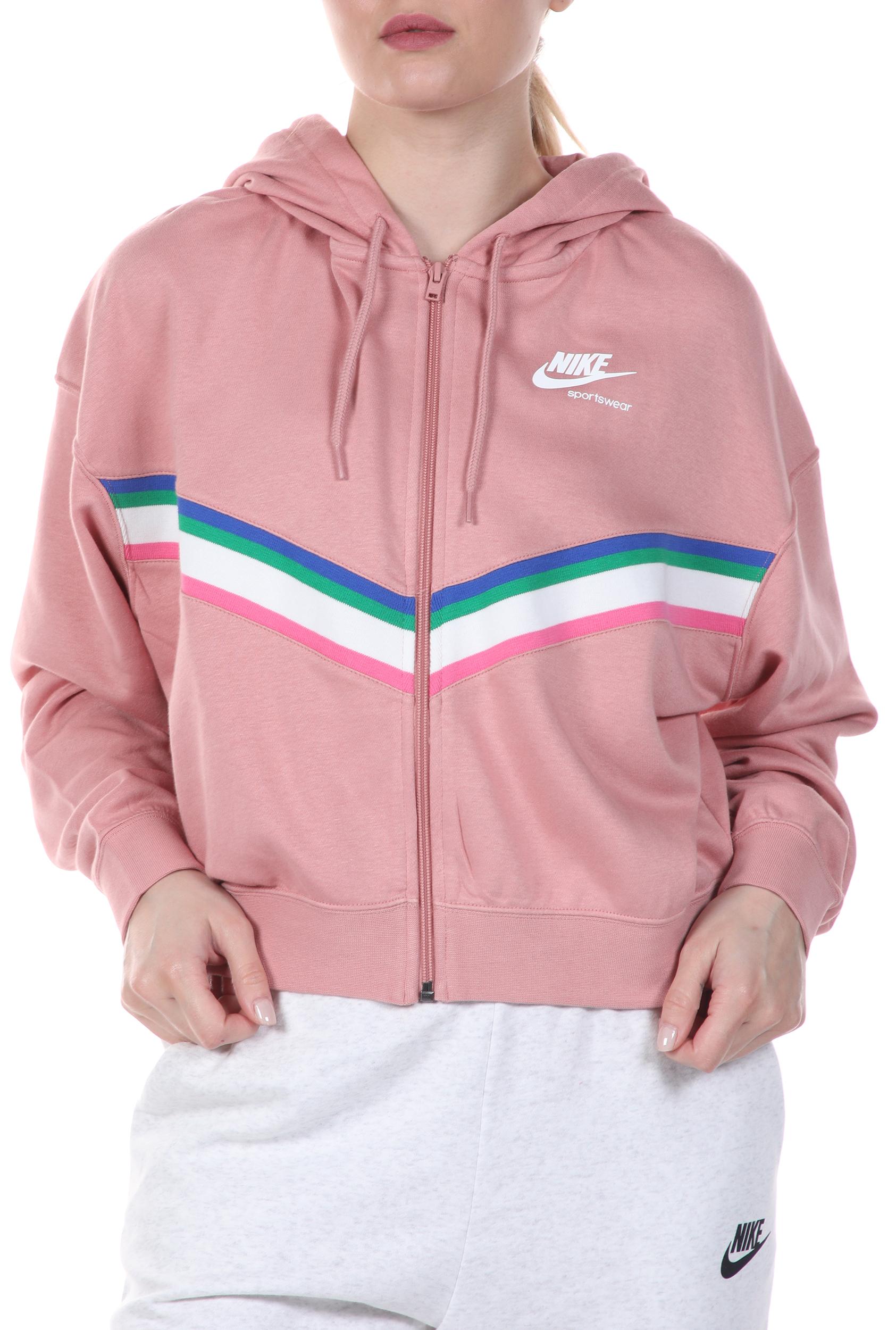 NIKE - Γυναικεία cropped φούτερ ζακέτα NIKE NSW HRTG FZ FLC ροζ