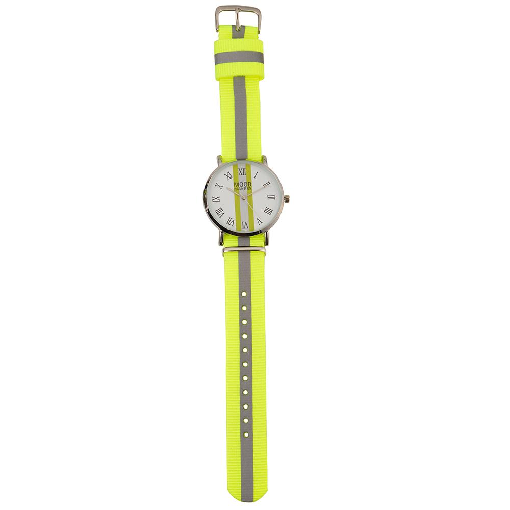 MOOD MAKERS - Unisex ρολόι χειρός MOOD MAKERS REFLECTIVE με υφασμάτινο λουράκι λαχανί