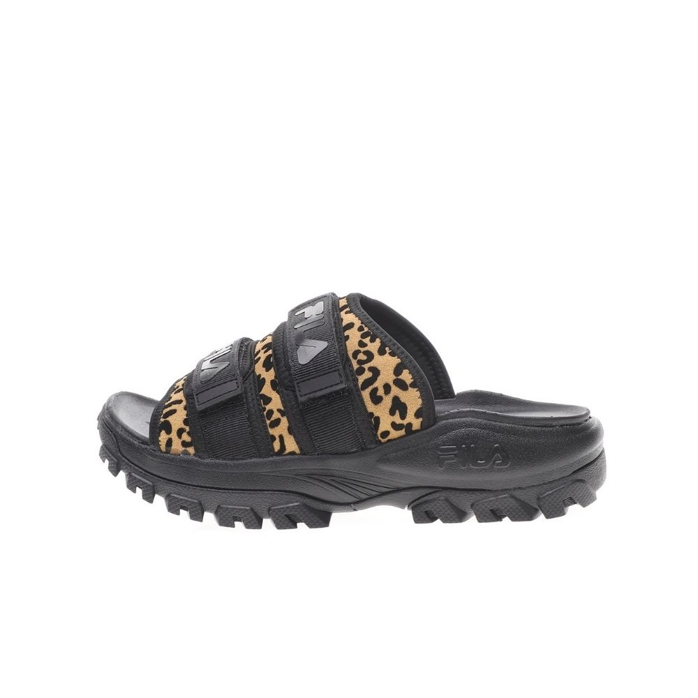 FILA – Γυναικεία slides FILA OUTDOORSLIDE ANIMAL PRINT μαύρα