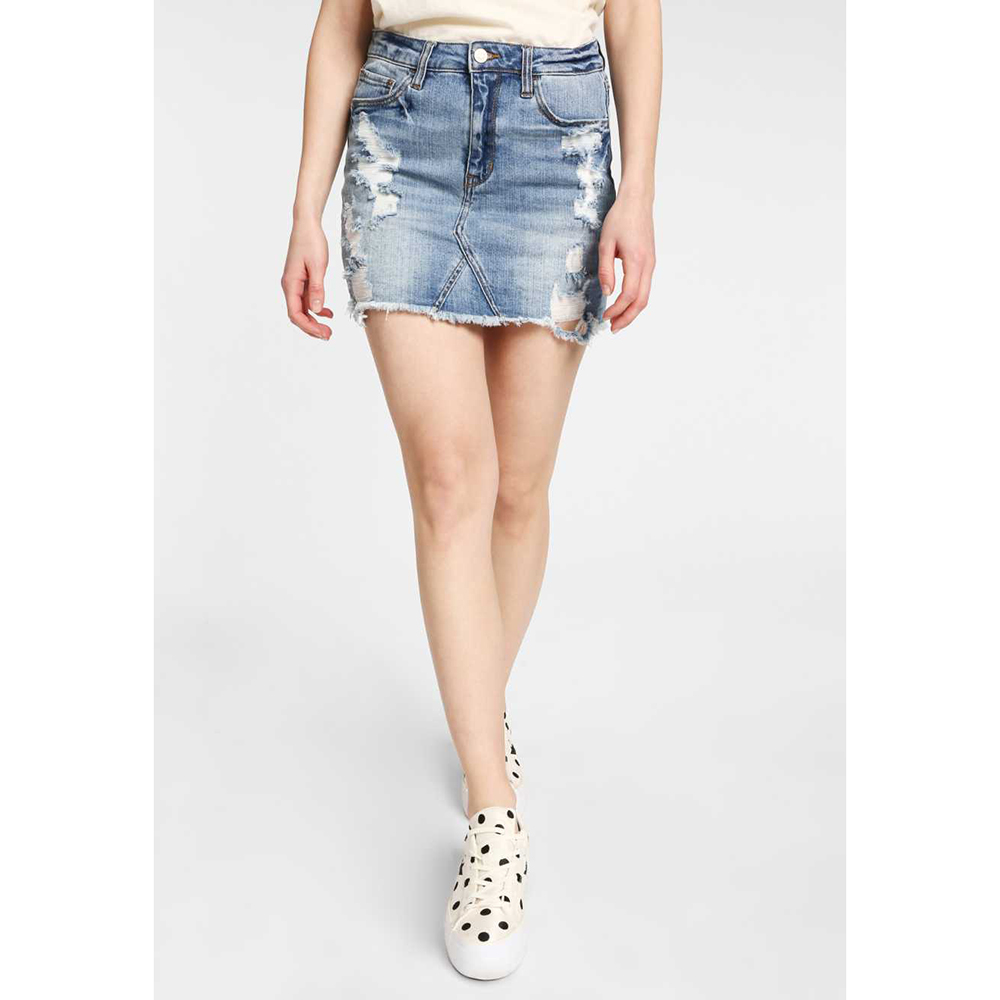 FUNKY BUDDHA - Γυναικεία jean mini φούστα FUNKY BUDDHA μπλε