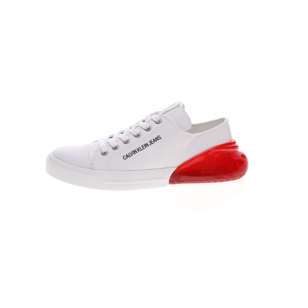 CALVIN KLEIN JEANS – Γυναικεία sneakers CALVIN KLEIN JEANS MYRTIE λευκά κόκκινα