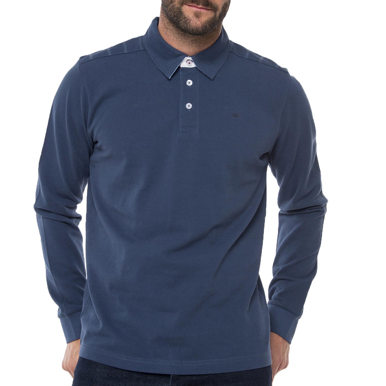 FUNKY BUDDHA - Ανδρική polo μπλούζα FUNKY BUDDHA μπλε