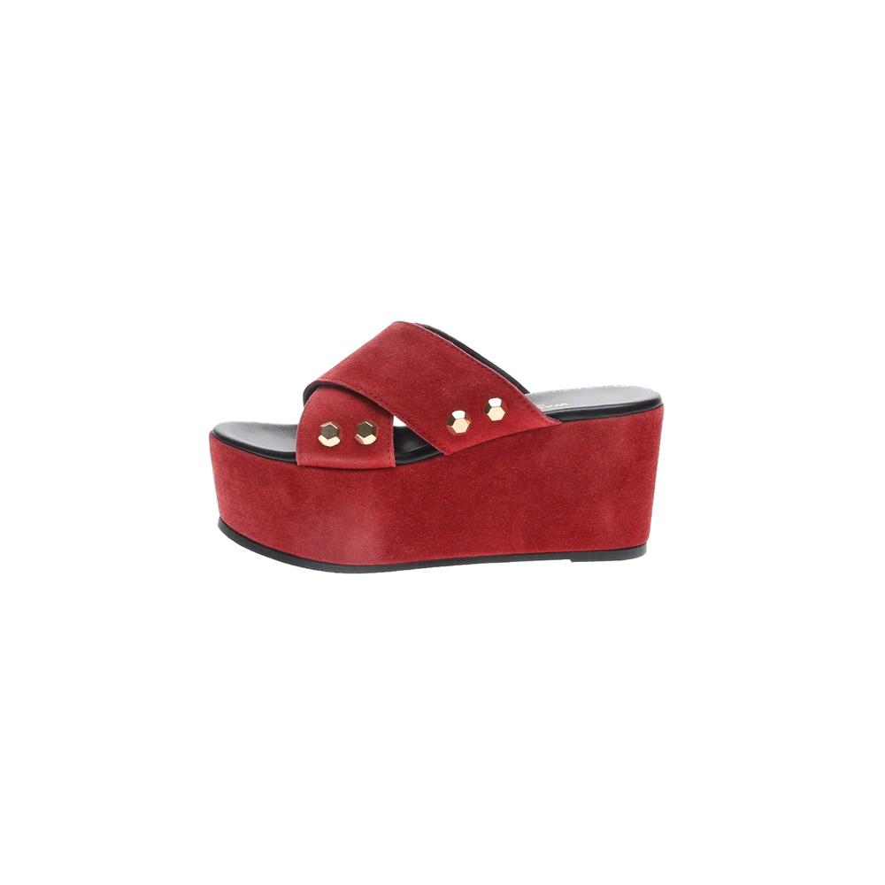 WALL STREET – Γυναικείες καστόρινες πλατφόρμες ADAMS WALL STREET κόκκινες