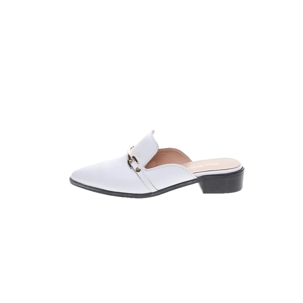 WALL STREET – Γυναικεία φλατ mules WALL STREET λευκά