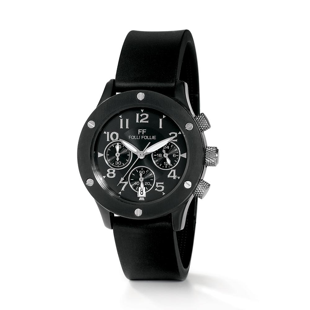Factoryoutlet FOLLI FOLLIE - Γυναικείο ρολόι χρονογράφος Folli Follie με  καουτσούκ λουράκι μαύρο 2b2c41dbdb2