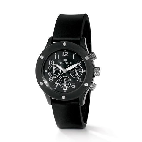 Γυναικείο ρολόι χρονογράφος Folli Follie με καουτσούκ λουράκι μαύρο  (661984.0-0071)  8612f3e91a1