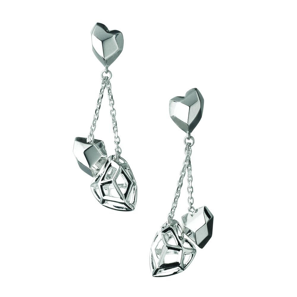 LINKS OF LONDON - Ασημένια σκουλαρίκια F&W Dbl Heart Stilett γυναικεία αξεσουάρ κοσμήματα σκουλαρίκια