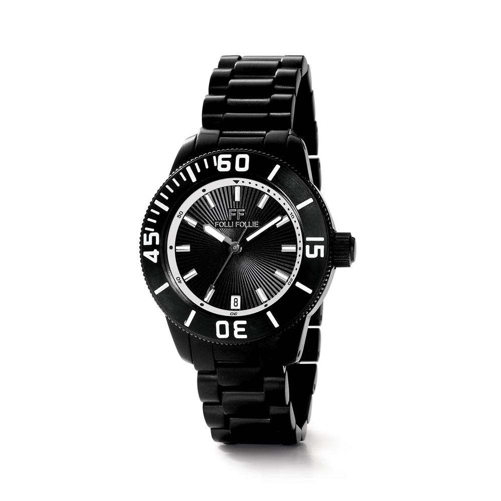 FOLLI FOLLIE - Γυναικείο ρολόι με μπρασελέ FOLLI FOLLIE μαύρ...