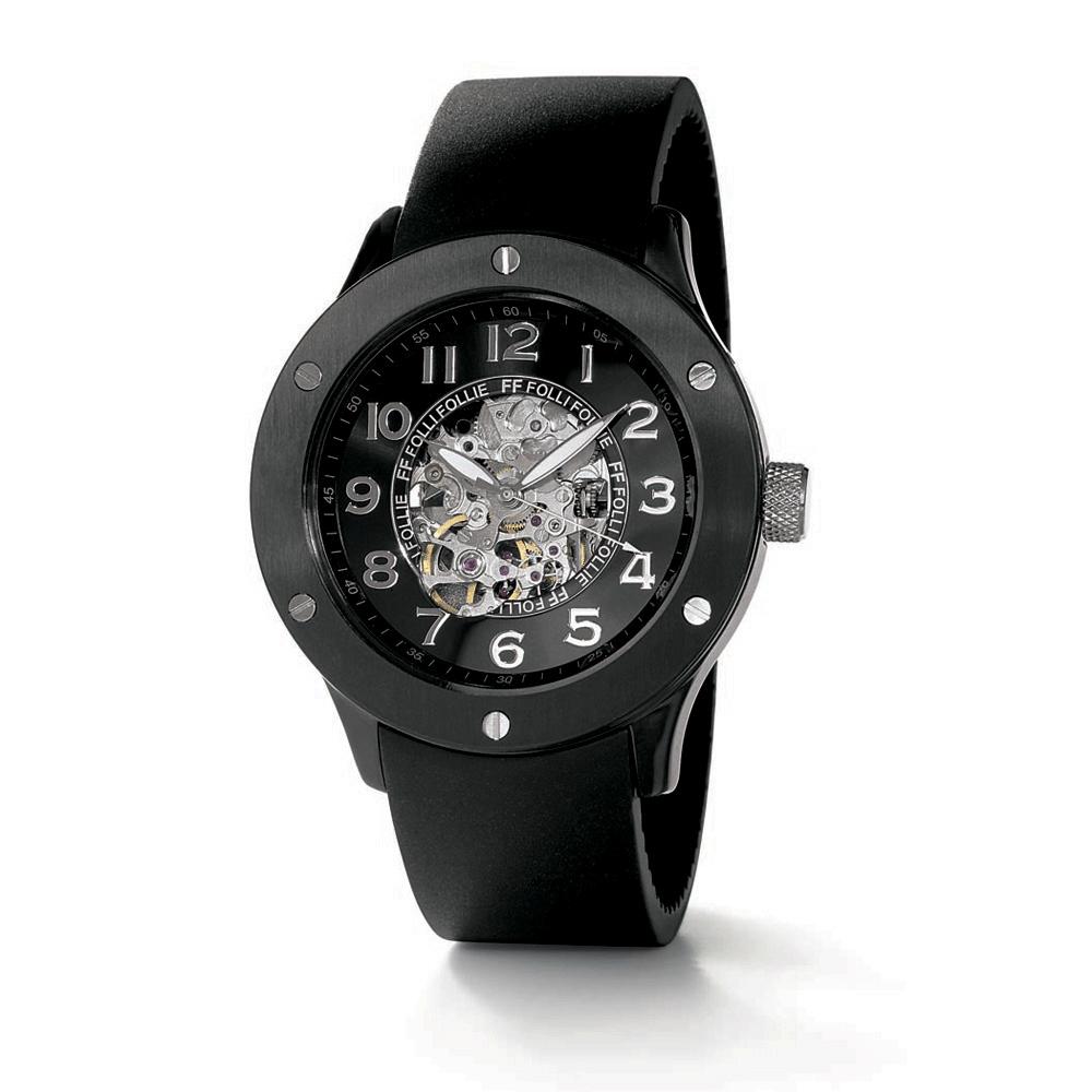 FOLLI FOLLIE - Ανδρικό ρολόι Folli Follie μαύρο ανδρικά αξεσουάρ ρολόγια δερμάτινα