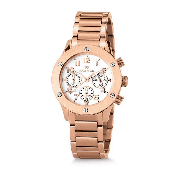 Γυναικείο ρολόι χρονογράφος Folli Follie με μπρασελέ ροζ-χρυσό  (828431.0-0000)  77c3a773cfe
